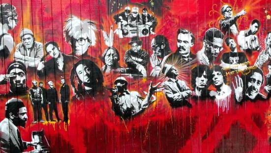 Utah Arts Alliance legends mural - far left panel