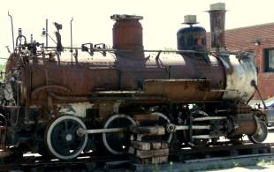 Antique narrow-gauge train engine