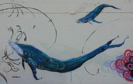 Two whales in Find Your Direction mural