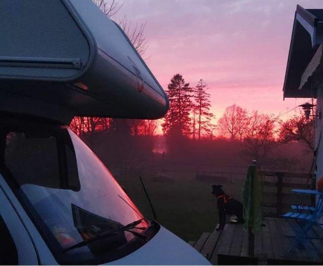 Sonnenuntergang in Schweden mit Wohnmobil und Hund