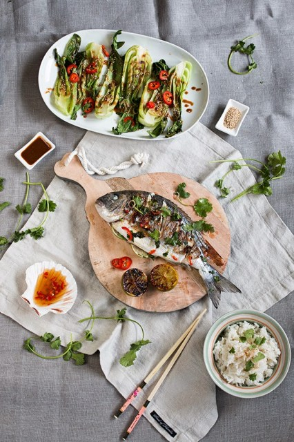 Asian spiced sea bream with coconut rice and bok choi in sesame dipping sauce   seelenschmeichelei.blogspot.com