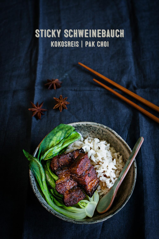 Sticky Schweinebauch mit Kokosreis und Pak Choi | seelenschmeichelei.de