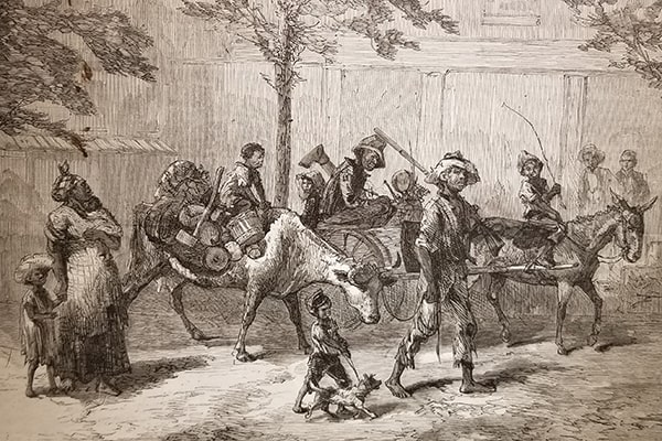 """""""En Route for Kansas – Fleeing from the Yellow Fever"""" sketch by H. J. Lewis"""