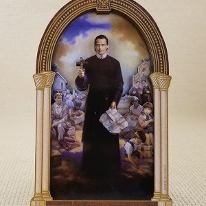 Seelos Beatification 3D Woodcut Tabletop Plaque