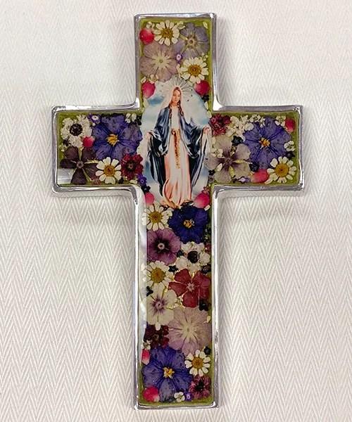 Pressed Flowers OL of Grace Large Cross