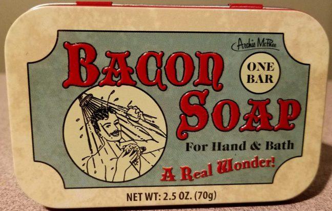 Bacon soap advertising tin