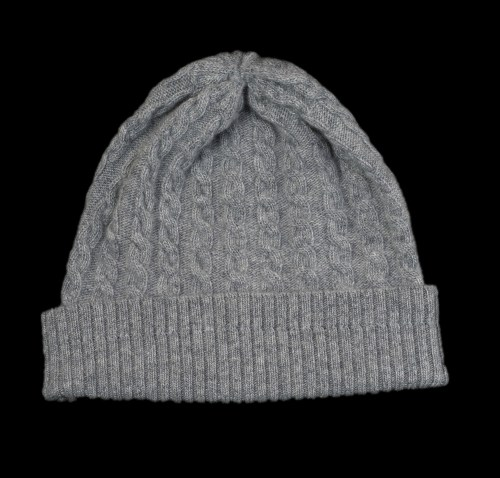Malena Grey Cable Knit Cashmere Hat