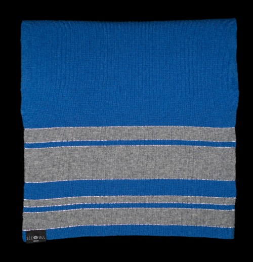 Sophie Large Blue Reflective Cashmere Scarf