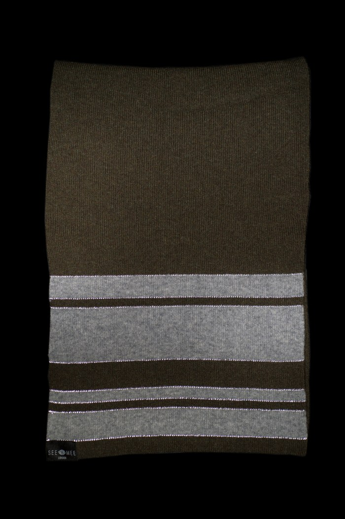 Sophie Small Green Reflective Cashmere Scarf