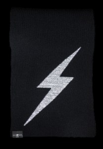 Thor Black Small Lightening Bolt Reflective Cashmere Scarf