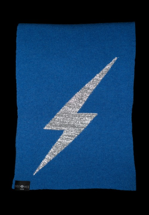 Thor Blue Small Lightening Bolt Reflective Cashmere Scarf