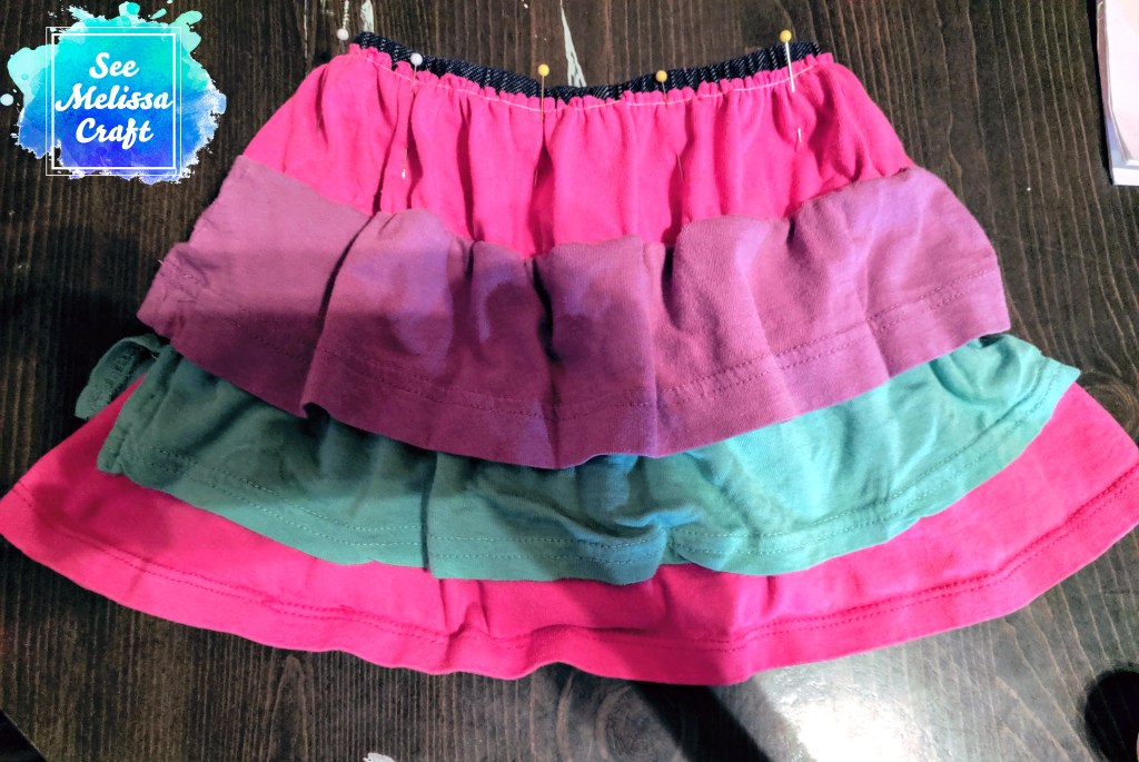 How to upcycle old clothes into a girl's skort pinned for last seam