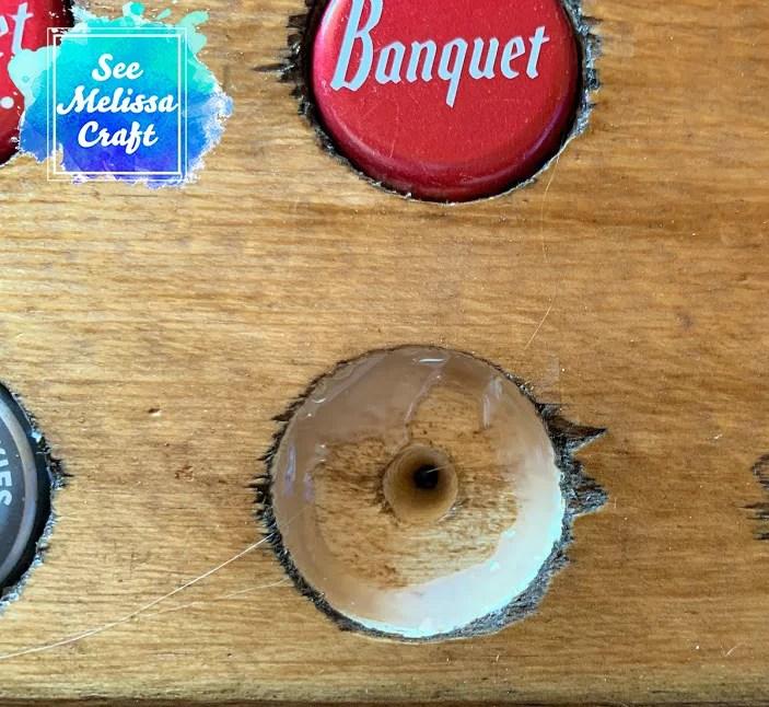 Hot glue for bottle caps