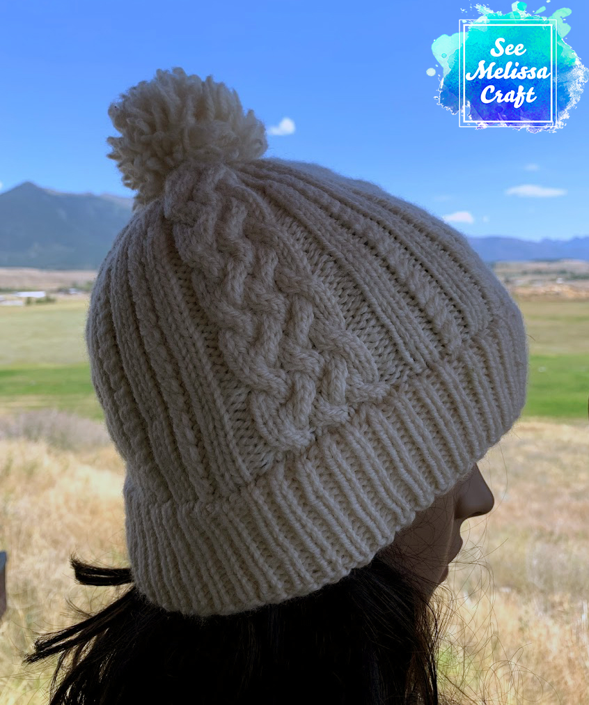 Sheridan cable knit hat pattern profile view