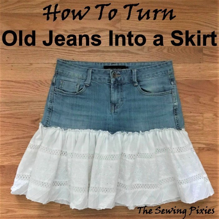 How To Turn Old Jeans Into a Skirt from The Sewing Pixies