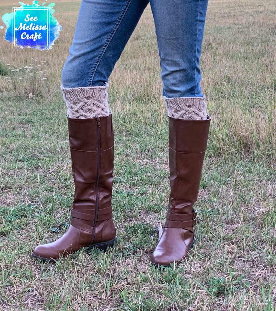 Side view of Celtic cable knit boot toppers
