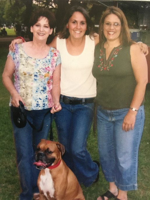 Writer Arielle Bergmann with her grandmother and mother and their family dog.