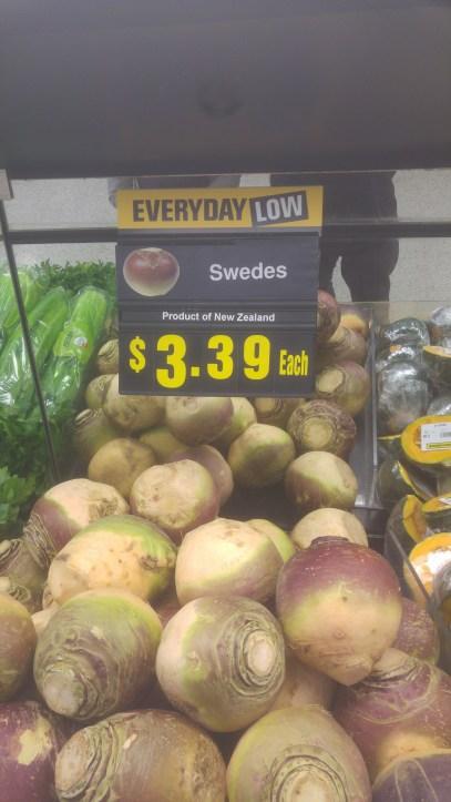 """Runkeln (""""Swedes"""", früher Schweinefutter, heute leckeres Gemüse, auch in Neuseeland"""