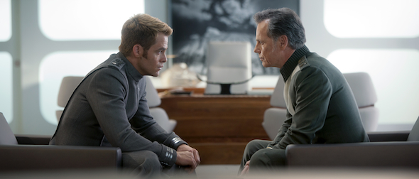 (Left to right) Chris Pine is Kirk and Bruce Greenwood is Pike in STAR TREK INTO DARKNESS from Paramount Pictures and Skydance Productions Photo Credit: Jaimie Trueblood © 2012 Paramount Pictures. All Rights Reserved.