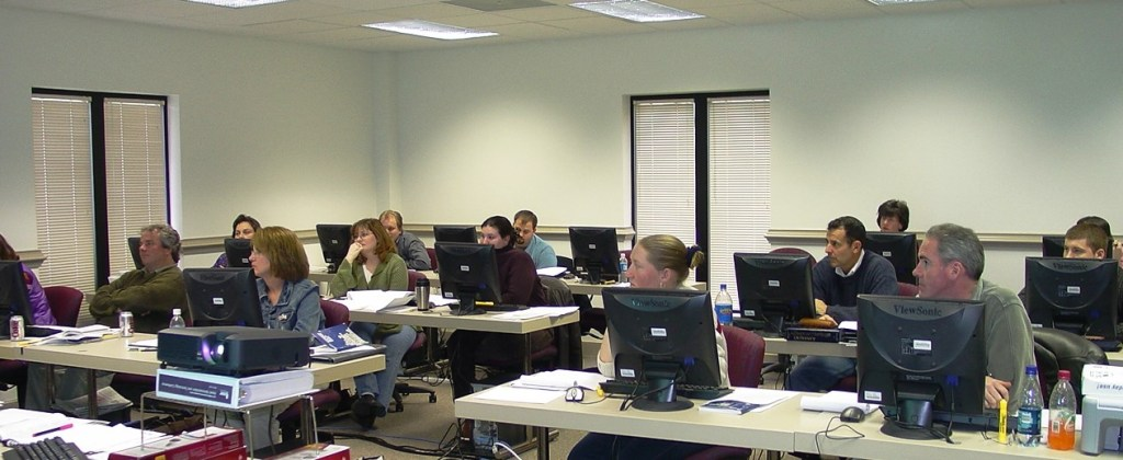 People training at computers