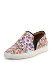 Tabitha Simmons FLORAL-PRINT LEATHER SLIP-ON SNEAKER ($595), at Neiman Marcus, Somerset Collection, Troy (248-643-3300; neimanmarcus.com).