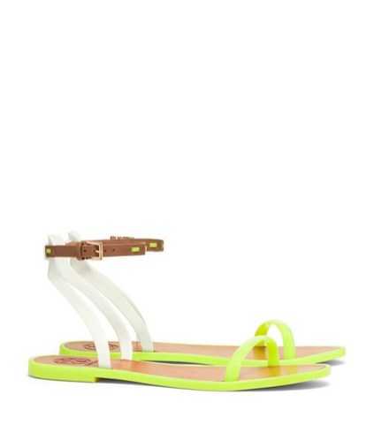 Tory Burch LEATHER ANKLE-STRAP FLAT JELLY SANDAL ($125) in Fluorescent Yellow, at Tory Burch, Somerset Collection, Troy (248-458-1307; toryburch.com).