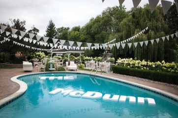 The McDunn, the name the couple had given their Northville home, floated in the pool.