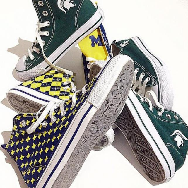 Skicks kicks lets them wear their school spirit with COLLEGIATE HIGH TOPS ($70) and LOW TOPS ($60). Guys N Gals, West Bloomfield (248-851-1260).
