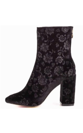 Bella Ray Black Velvet Embroidered Boots