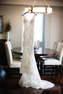 Brides dress by Pronovias.