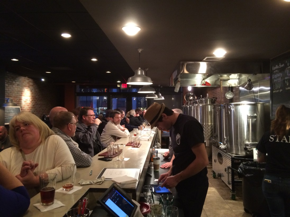 The Farmington Brewing Company is packing them in. Note its vats in the back.