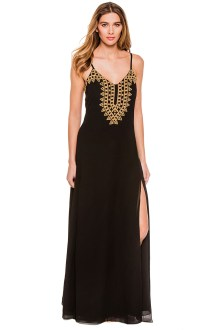 Mara Hoffman black and hand-beaded gold detailed maxi, $498, available at Everything But Water, Somerset Collection, Troy.