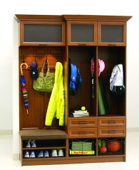 "A mudroom ""locker"" for each child provides convenient organization, by California Closets."