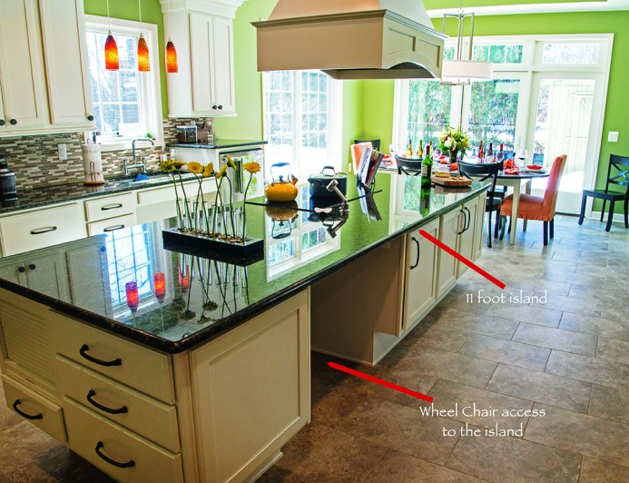 Universal Design Kitchen with 11-foot island.