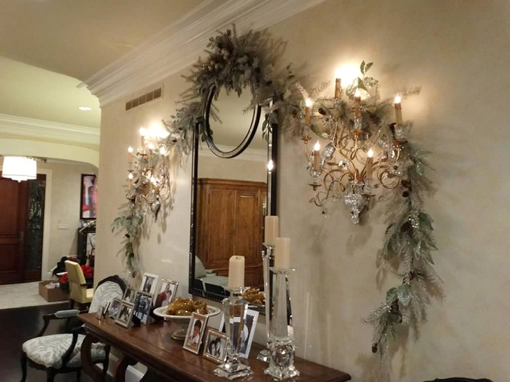 Left: Decorating a small space to create holiday atmosphere. Designed by Shirley Maddalena.