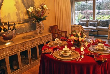 Layer the place settings to add holiday sparkle. Designed by Shirley Maddalena.