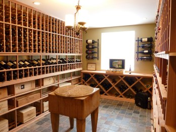 Wine cellar and tasting room constructed from heart redwood.