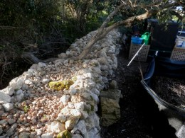 Repaired rubble wall and HotBin