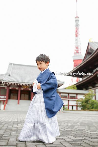 東京タワーが見える増上寺で七五三写真撮影(1時間コース)
