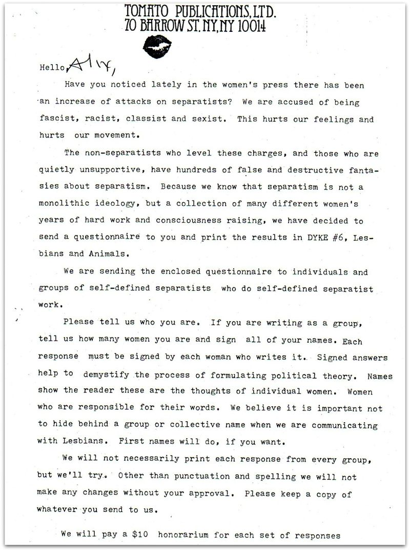 Cover Letter For Separatist Symposium Dyke A Quarterly 1977