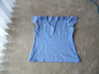Blue shirt, before dyeing. The pink blotch is in the center bottom area