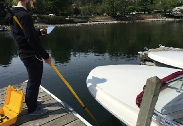 Boat hull inspection using underwater WiFi cable