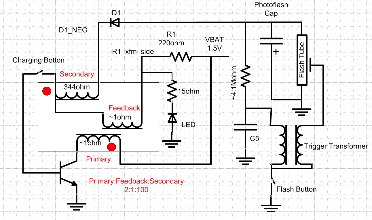 Photoflash Charger IC patent video and blocking oscillator