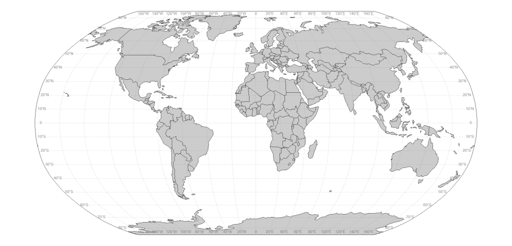 World map in Robinson projection with ggplot See the data