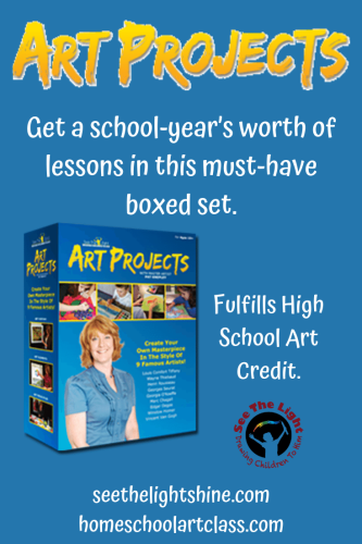 Art Projects - A school-year's worth of art lessons. Fulfills high school art credit. See the Light Shine