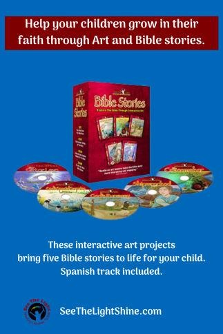 Blue background with Boxed Set of DVDs. Text overlay: Help your children grow in their faith through Art and Bible stories. These interactive art projects bring five Bible storie to life for your child. Spanish track included. See the Light