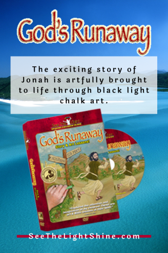God's Runaway - The exciting story of Jonah is artfully brought to life through black light chalk art. See the Light Art