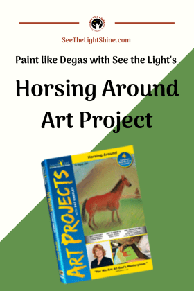 White and green background with text overlay: Paint like Dega with See the Light's Horsing Around Art Project. Image of DVD cover and a horse.
