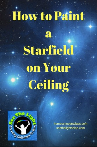 Night sky background with text overlay - How to Paint a Starfield on Your Ceiling.  See the Light Art