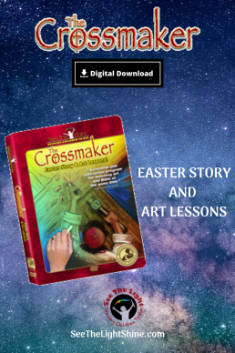 Space background with Crossmaker DVD image.  Easter Story and Art Lessons. Digital download.  See the Light Art